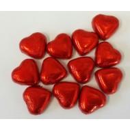 Red Foiled Milk Chocolate Caramel Creme Hearts - 1kg Bag