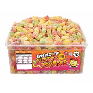 Sweet Zone Mini Neon Worms Halal 1p X 600 Pieces