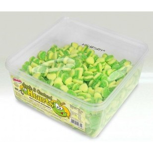 ALMA  APPLE & CUSTARD HEARTS FRUIT FLAVOUR JELLY SWEETS HALAL TUB 600 PCS