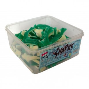 ALMA SHARKS JELLY SWEETS FRUIT FLAVOUR HALA TUB OF 60